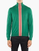 Paul Smith Green Merino Zip-up Cardigan