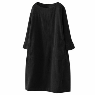 Moent Dresses for Women Casual Party Women Vintage Pockets Corduroy Solid Color Long Sleeve Loose Casual Dress