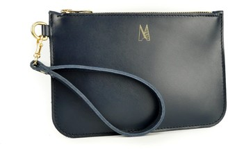 Village Leathers Soft Leather Clutch Bag - Navy