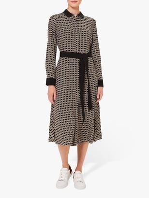 Hobbs Alison Chain Print Shirt Dress, Neutral/Multi