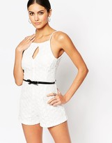 Lipsy Ariana Grande for Daisy Lace Belted Romper