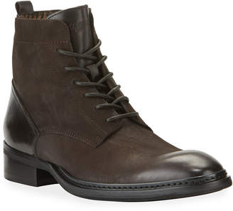 Karl Lagerfeld Paris Men's Rugged Leather Combat Boots