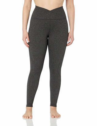 Core 10 Build Your Own Yoga Pant Full-Length Legging Dark Heather Grey Plus Cross Waist 1X (14W-16W) - Tall