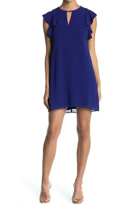 Vince Camuto Ruffle Sleeve Keyhole Chiffon Shift Dress (Petite)