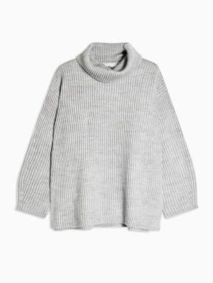 Topshop Wool Mix Roll Neck Jumper - Grey Marl
