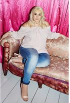 Quiz Curve Pink Bardot Bow Detail Tunic Dress