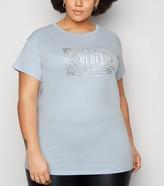 New Look Curves Merci Slogan T-Shirt