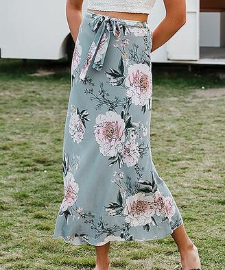 Simplee Women's Casual Skirts Blue - Blue Floral Tie-Waist Maxi Skirt - Women