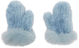 Yves Salomon Blue Rex Rabbit and Fox Fur Mittens