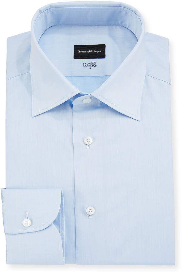 Ermenegildo Zegna Men's 100Fili Cento Solid Poplin Dress Shirt, Blue