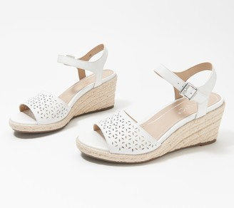 Vionic Leather Perforated Espadrille Wedges - Ariel