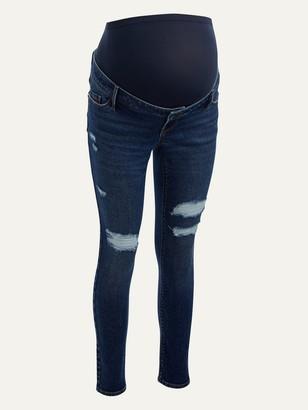 Old Navy Maternity Premium Full Panel Rockstar Super Skinny Ripped Jeans