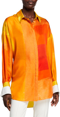 PARTOW Printed Silk Tunic Blouse