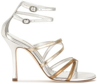 Manolo Blahnik Metallic Ankle-Strap Sandals
