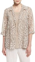 Caroline Rose 3/4-Sleeve Animal-Print Burnout Jacket, Natural