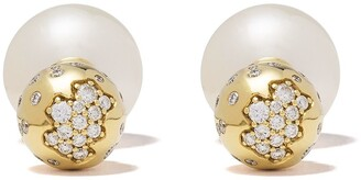 Yoko London 18kt yellow gold Duet South Sea pearl and diamond earrings