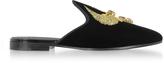 Giuseppe Zanotti Black Velvet Flat Mules w/Egyptian Embroidery