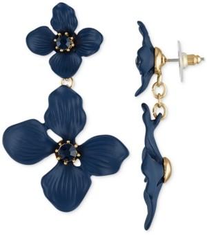 Rachel Roy Gold-Tone Crystal Double Flower Statement Earrings