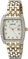 August Steiner Women's AS8180YG Yellow Gold Crystal Accented Quartz Watch with White Diamond Dial and Yellow Gold Bracelet