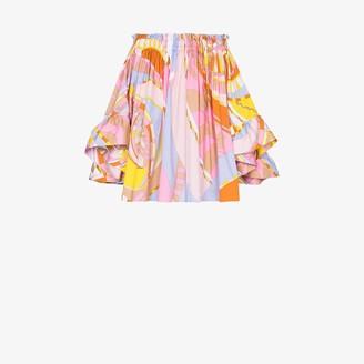 Emilio Pucci Wally print draped cotton top