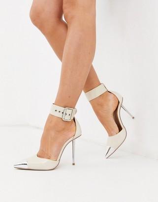 ASOS DESIGN Pierce stiletto heels with toe cap in bone patent