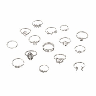 Generic JIekyoi Rhinestone Kunckle Rings Silver Stackable Joint Finger Rings Set Moon Nail Accessories Jewelry for Women and Girls (Pack of 15) Fast Delivery A++
