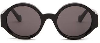 Loewe Story Anagram-logo Round Acetate Sunglasses - Black