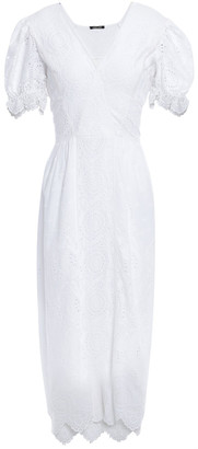 Love Sam Bella Mousseline-paneled Broderie Anglaise Cotton Midi Dress
