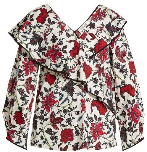 Diane von Furstenberg Canton Print Stretch Cotton Wrap Top - Womens - White Print