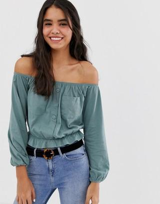Bardot Asos Design ASOS DESIGN top with utility pockets-Green