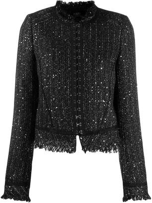 Karl Lagerfeld Paris hook & eye tweed jacket