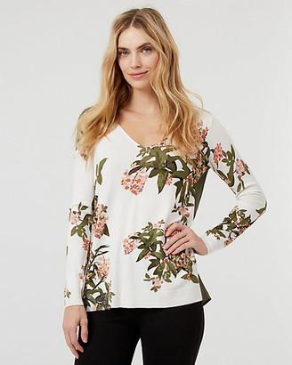 Le Château Floral Print Knit V-Neck High-Low Sweater