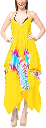 LA LEELA Everyday Essentials Women's Hand Tie Dye Short Beach Dress Vintage Casual Maxi Evening Loungewear Short Sleeve Caftan Cover up Tunic One Size Large Cruise wear Yellow_C117 Size-14(M)-20(XL)