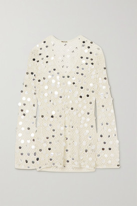 Caroline Constas Paillette-embellished Crochet-knit Mini Dress - White