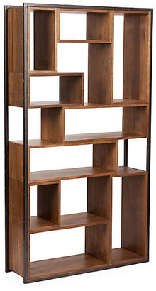 Noir Bauhaus Open Bookcase - Walnut frame, black; shelves, walnut