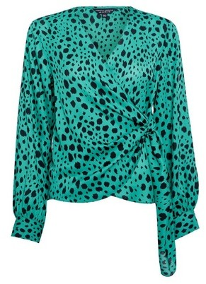 Dorothy Perkins Womens Green Animal Print Wrap Tie Blouse, Green
