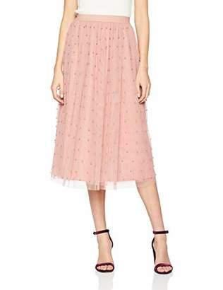 Little Mistress Women's Ambrose Apricot Pearl Detail Midi Skirt A-Line Plain Skirt,(Manufacturer Size:)
