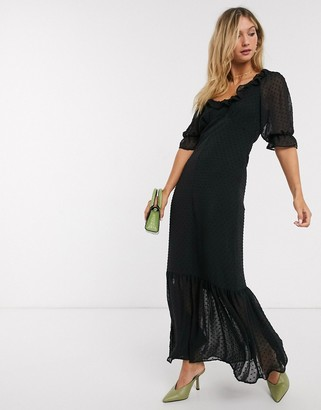 ASOS DESIGN scoop neck maxi dress in dobby in black