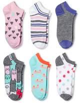 Xhilaration Women's 6-Pk Low-Cut Socks Kitty Cat Gray One Size