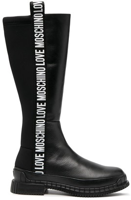 Love Moschino Zip-Up Leather Boots