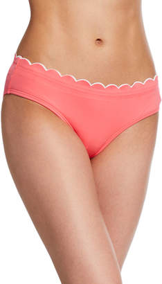 Kate Spade Contrast-Scalloped Hipster Bikini Bottoms