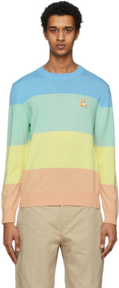MAISON KITSUNÉ Multicolor Merino Rainbow Stripe Sweater