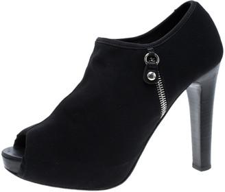Stuart Weitzman Black Mesh Faux Zipper Peep Toe Ankle Boots Size 39