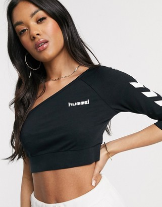 Hummel Hive one shoulder crop top in black