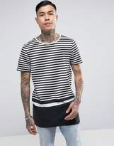 New Look New Look Longline T-shirt With Block Stripe In Black