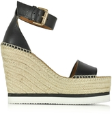 See by Chloe Black Leather Wedge Espadrilles Sandal