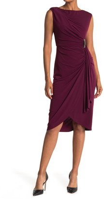 London Times Sleeveless Ruched Drape Front Sheath Dress