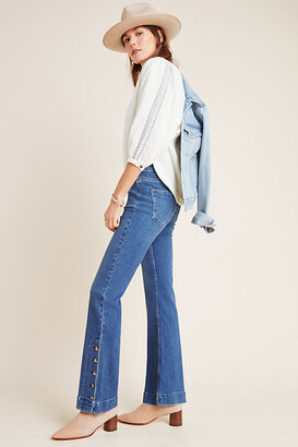 Pilcro And The Letterpress Pilcro Button-Hem High-Rise Bootcut Jeans By in Blue Size 25
