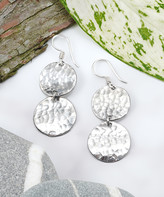 Katherine Winters Women's Earrings Metallic - Sterling Silver Disc Mala Hammered Drop Earrings