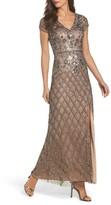 Adrianna Papell Women's Beaded V-Neck Mesh Gown